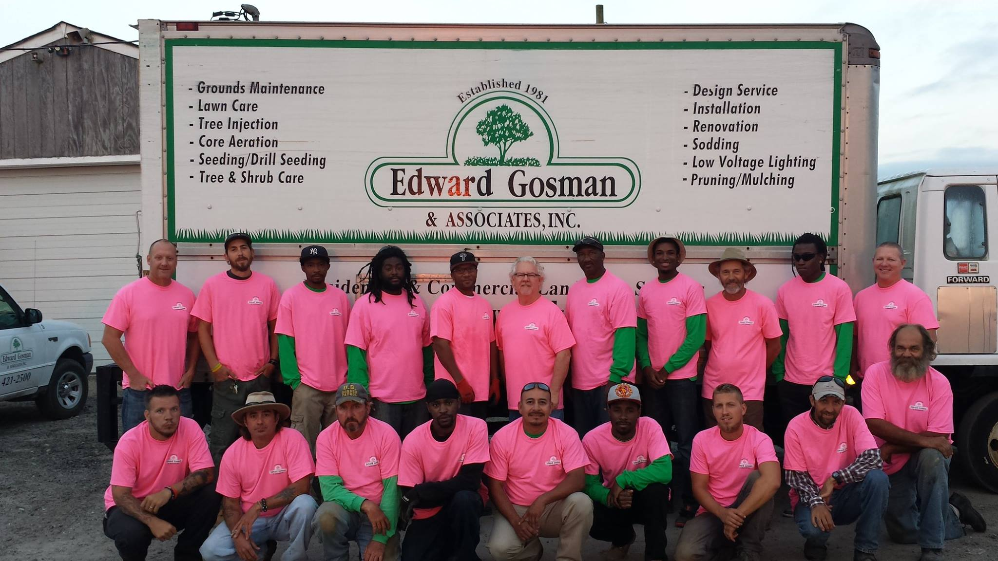 Our maintenance crew showing support for breast cancer awareness and research.